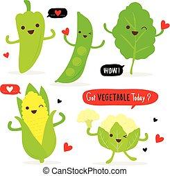 groente, voedingsmiddelen, fris, spotprent, vector