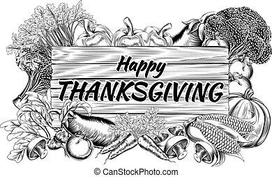groente, vruchten, produceren, dankzegging, meldingsbord