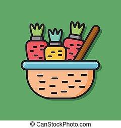 groente, wortel, vector, pictogram