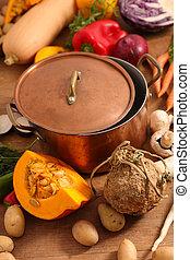 groentensoep, pot, het koken