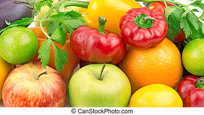 groentes, achtergrond, vruchten