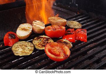 groentes, barbecue, het koken