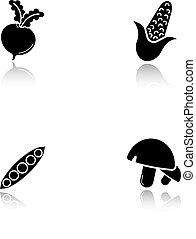 groentes, black , schaduw, iconen, set, druppel