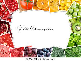 groentes, concept, vruchten