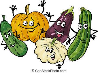 groentes, cucurbit, groep, spotprent, illustratie