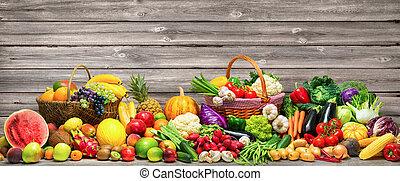 groentes, en, vruchten, achtergrond