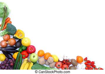 groentes, frame, vruchten