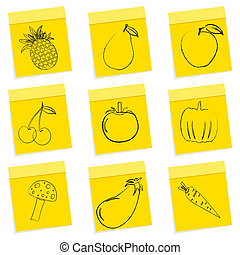 groentes, fruit, schets, &
