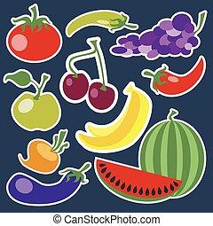 groentes, fruit, set, pictogram