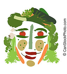 groentes, gemaakt, vrouwelijk gezicht