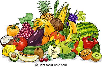 groentes, groep, spotprent, illustratie, vruchten
