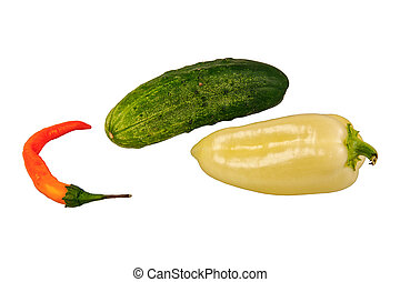 groentes, groep, witte achtergrond