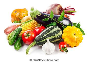 groentes, herfstachtig, groene, fris, oogsten, bladeren