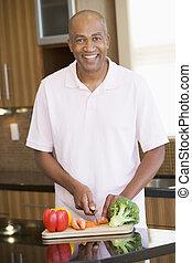 groentes, het hakken, man