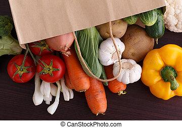 groentes, hout, recipe., achtergrond, ruimte