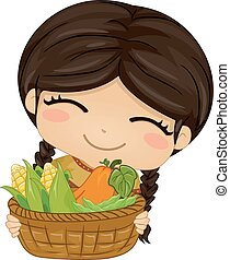 groentes, illustratie, amerikaan indiaas, meisje, geitje