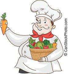groentes, illustratie, kok, vruchten, mand, man