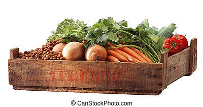 groentes, in, krat