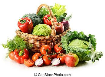 groentes, in, wicker mand
