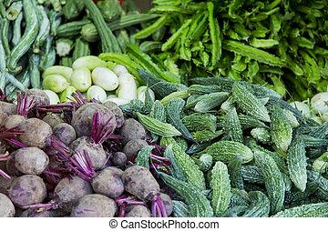 groentes, op, detail, fris, afsluiten, markt, aanzicht