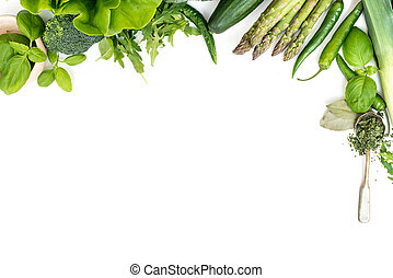 groentes, op, een, witte