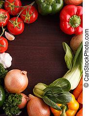 groentes, op, hout, achtergrond, met, ruimte, voor, recipe.