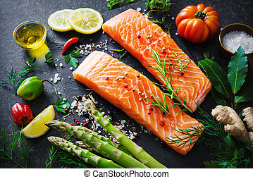 groentes, salmon, filet, aromatisch, keukenkruiden, fris, kruiden