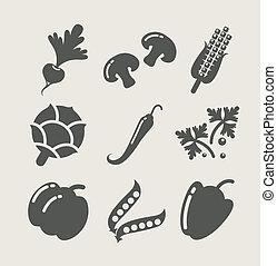 groentes, set, iconen