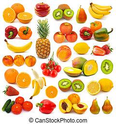 groentes, set, vruchten