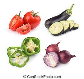 groentes, set, witte achtergrond
