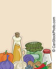 groentes, specerijen, achtergrond
