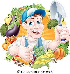 groentes, spotprent, tuinman