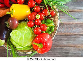 groentes, stilleven, op, houten, achtergrond