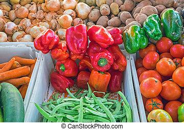 groentes, te koop, op, een, markt