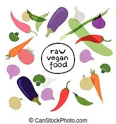groentes, vector, achtergrond
