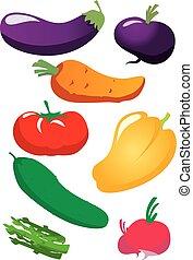 groentes, vector, set