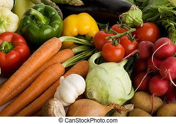 groentes, verzameling, groep