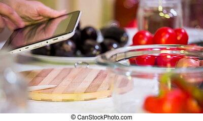 groentes, voorbereiding, voor, verder, verwerking