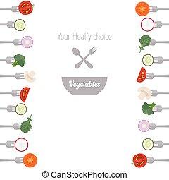 groentes, vorken, stukken