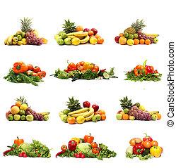 groentes, vrijstaand, op wit