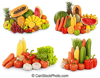 groentes, vrijstaand, w, vruchten