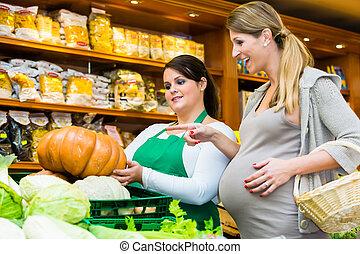 groentes, vrouw, delicatessen, aankoop, pompoen