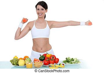 groentes, vrouw, stond, gym-wear
