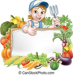 groentes, vrouw, tuinman, meldingsbord