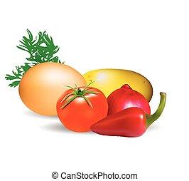 groentes, witte achtergrond, vrijstaand