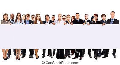 groep, advertentie, zakenlui, vrijstaand, vasthouden, witte , spandoek