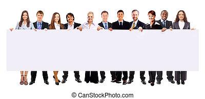 groep, advertentie, zakenlui, vrijstaand, vasthouden, witte...