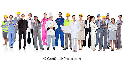 groep, anders, groot, werkmannen
