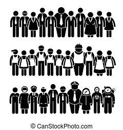 groep, arbeider, mensen