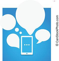groep, beweeglijk, moderne, telefoon, toespraak, wolken